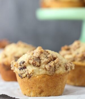 These Maple Pecan Banana Muffins are sweetened maple syrup and topped with Sahale Snacks Maple Pecan Glazed Mix streusel.