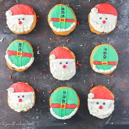 Donuts made easy! These santa and elves donuts are so cute and a fun holiday project to do with your kids!