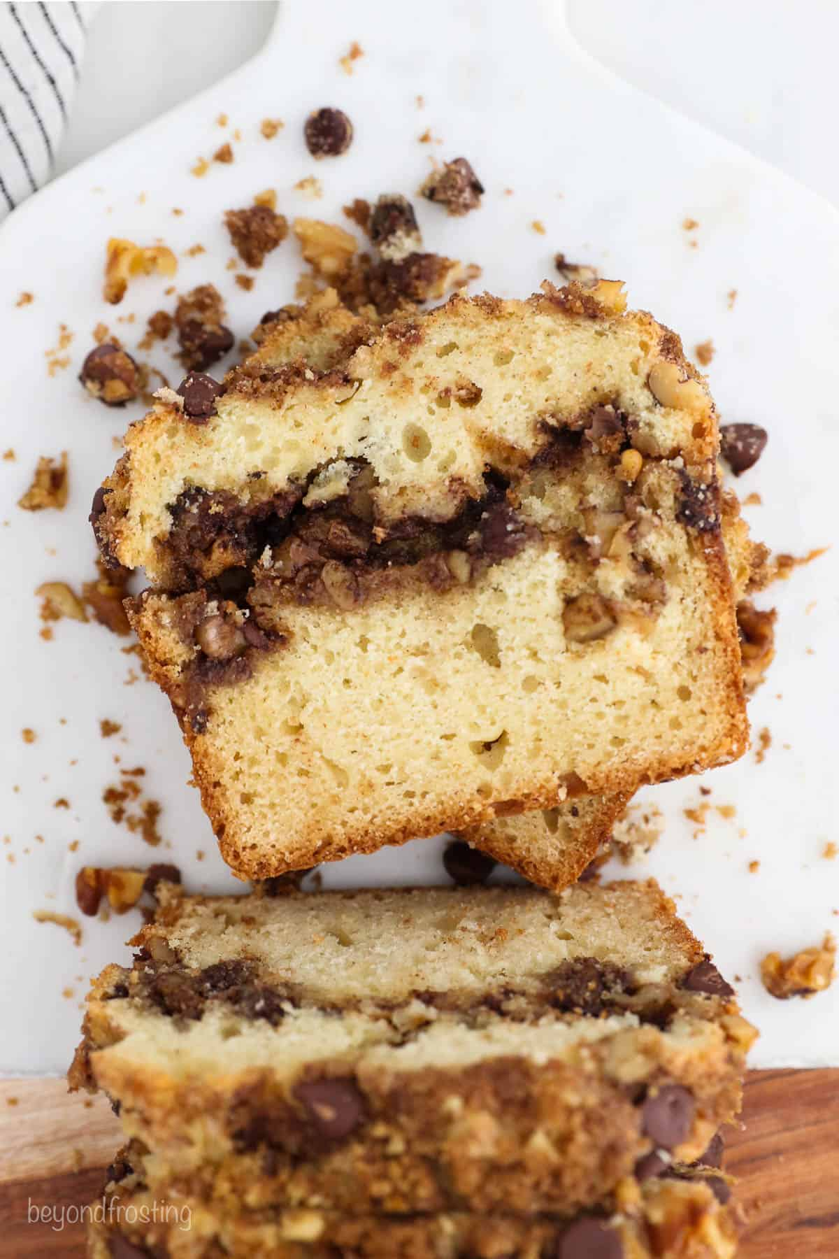 A slice of sour cream coffee cake with streusel topping