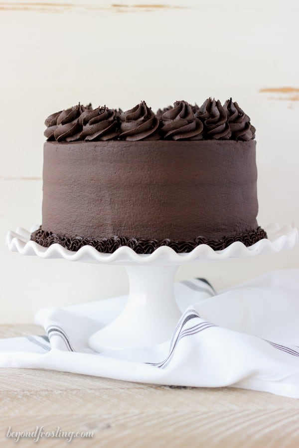 Side view of a Decadent Chocolate Stout Cake