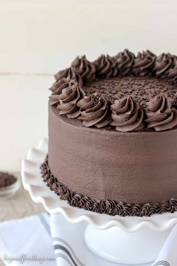 Photo of a Decadent Chocolate Cake on a cake stand