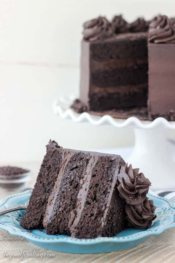 A side view of a slice of Chocolate Guinness Cake
