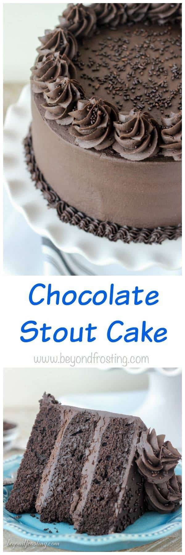 """This Decedent Chocolate Stout Cake is a dark chocolate cake spiked with chocolate stout beer. It's topped with a mouthwatering dark chocolate frosting. This rich chocolate cake is best accompanied by a big glass of milk."