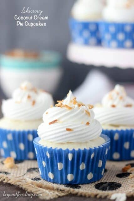 These Skinny Coconut Cream Pie Cupcakes are full of flavor without all the calories. Only 5 Weight Waters Smart Points. The coconut cupcake is filled with a sugar-free, fat-free coconut pudding and topped with Cool Whip.