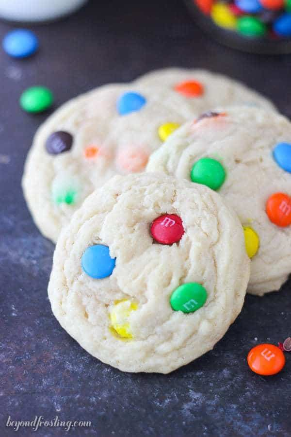 a stack of 4 M&M cookies