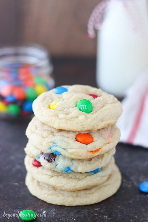 a stack of 5 M&M cookies