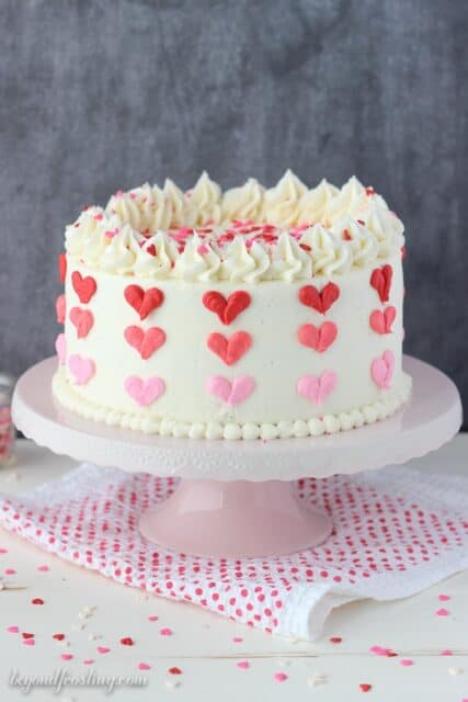Festive Valentine's Day Cake with ombre buttercream hearts.