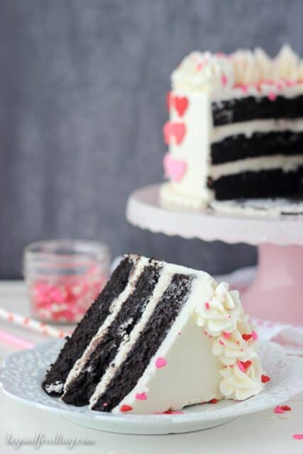 Valentine's Day pink ombre heart cake with an incredible dark chocolate cake recipe.