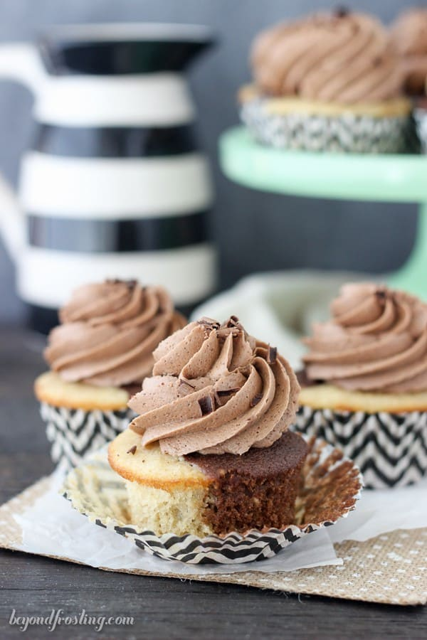 This from-scratch recipe featured a black and white marbled cupcake infused with Irish cream. It's topped with a silky chocolate frosting. It's perfect for St. Patrick's Day!