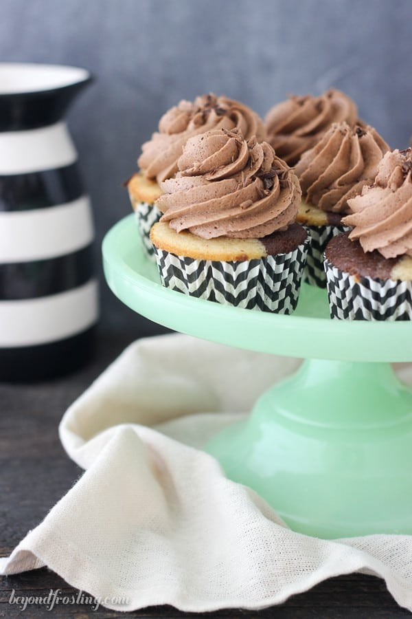 There's too much to love about this Triple Irish Cream Cupcakes. This from-scratch recipe is a marbled chocolate and vanilla Irish cream cake filled with a spiked ganache and a Irish Cream Frosting.