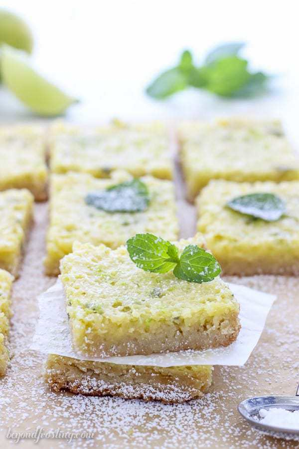 There's something special about these Mojito Bars that makes my mouth watering. The lime filling is infused with fresh mint and a macadamia nut crust.