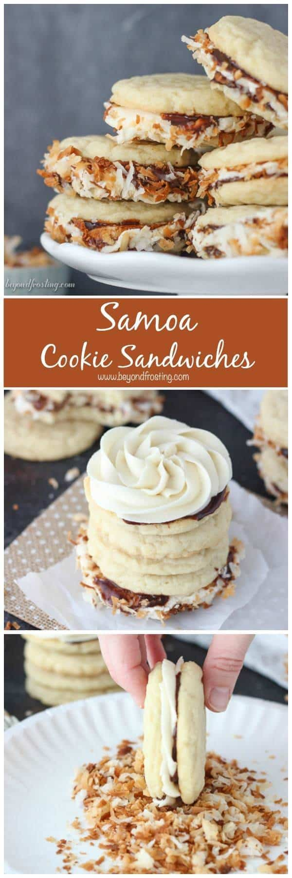 These Samoa Cookie Sandwiches are completely irresistible. The caramel buttercream is sandwiched between two chewy sugar cookies coated with chocolate sauce and rolled in toasted coconut.
