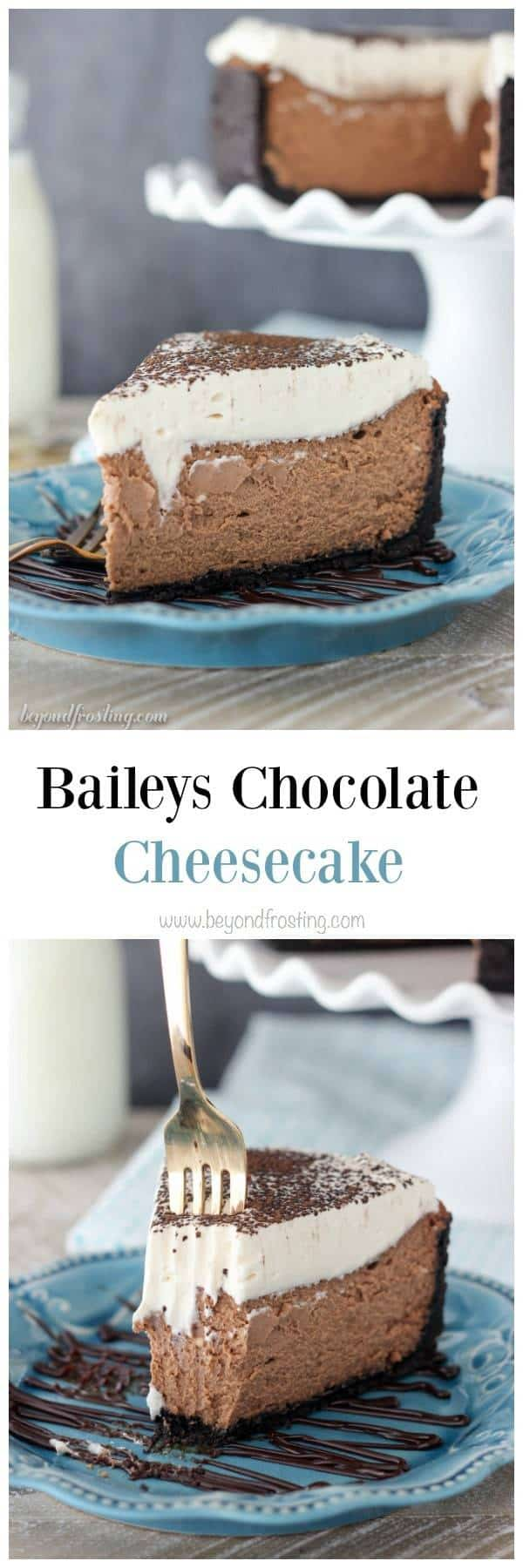 This Bailey's Chocolate Cheesecake only requires a few simple ingredients, but the best is the melted chocolate in the cheesecake! To make it even better, it's top off with a Bailey's Whipped Cream!