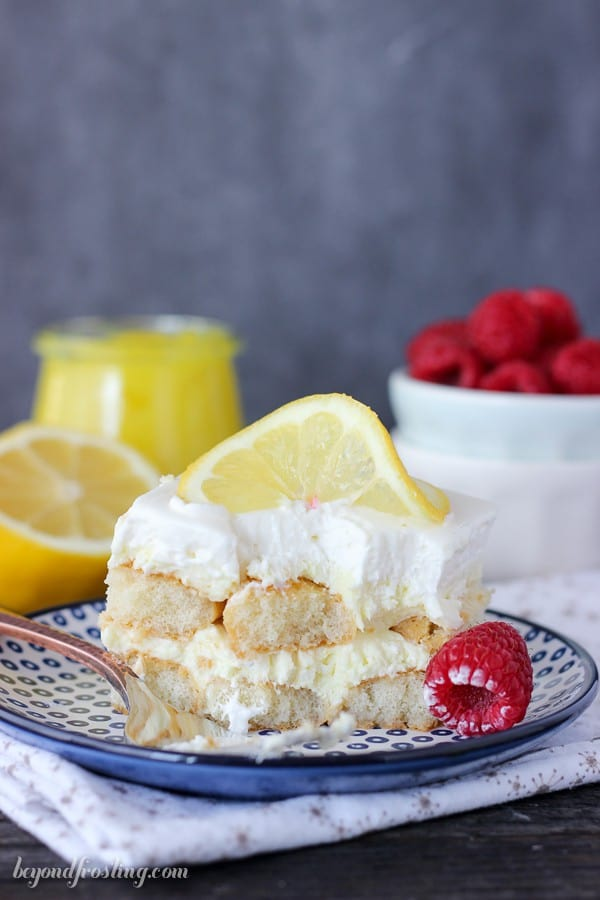 This No-Bake Lemon Icebox Cake is quick to throw together. Layers of ladyfingers, lemon mousse and whipped cream make up this delectable dessert.
