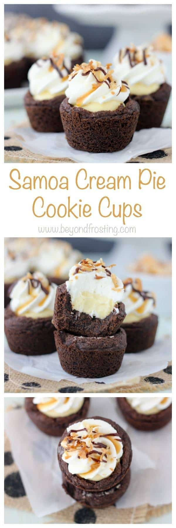 These Samoa Cream Pie Cookie Cups are a chocolate pudding cookie filled with a vanilla-caramel mousse and topped with whipped cream, toasted coconut and plenty of chocolate sauce and caramel. These are the next best thing besides samoa cookies