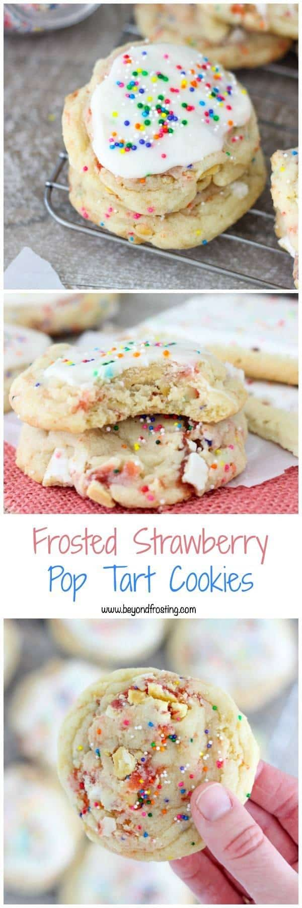 These Frosted Strawberry Pop Tart Cookies are like a party in your mouth. The soft and buttery cookie is loaded with strawberry Pop Tarts and finished off with a vanilla glaze.