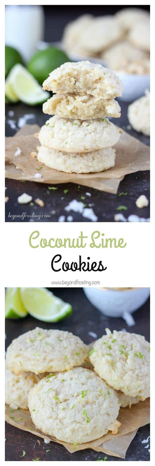 These thick and chunky Coconut Lime Cookies are the perfect summer time treat! The soft cookies are loaded with sweetened coconut and lime zest. Grab the recipe at www. beyondfrosting.com