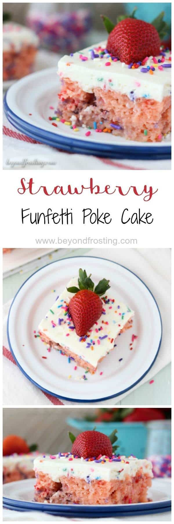 This Strawberry cake is soaked with sweetened condensed milk and topped with Funfetti whipped cream. The marriage of strawberry and Funfetti has never been so mouthwatering!