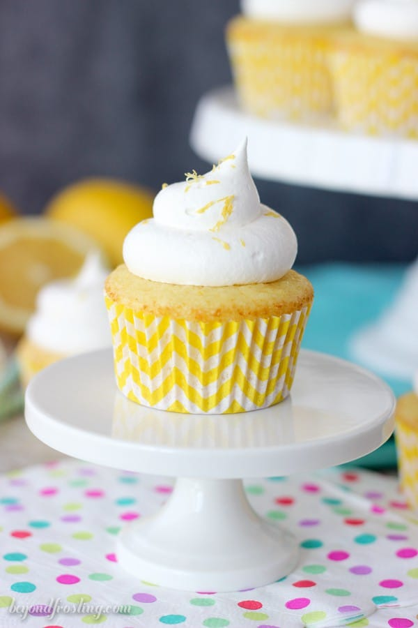 These Skinny Lemon Cream Pie Cupcakes are made with a diet soda and a cake mix, lemon pudding filling and a Cool Whip frosting. They are perfect for Weight Watchers or low-calorie eaters.
