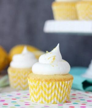 A pretty lemon cupcake with a lemon chevron cupcake liner