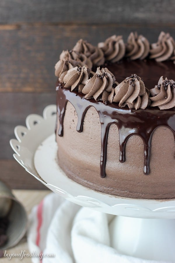 Close Up Image of Chocolate Mudslide Cake With Ganache