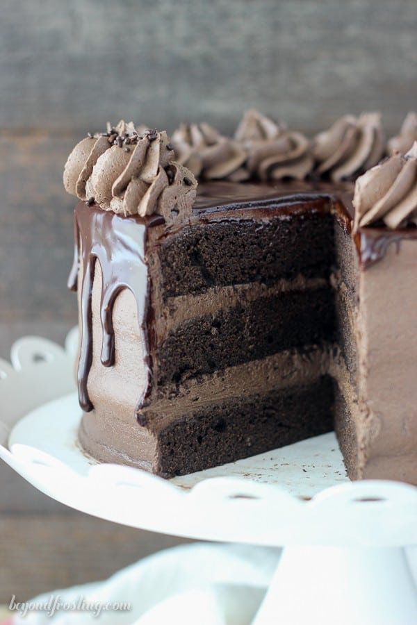 Image of Kahlua Chocolate Cake with Slice Missing