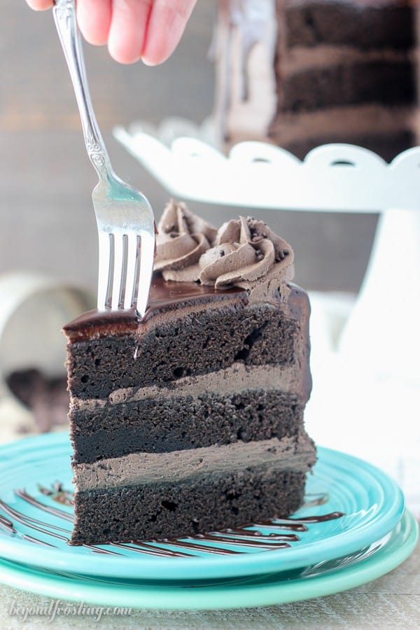 Image of a Fork in Chocolate Cake With Ganache