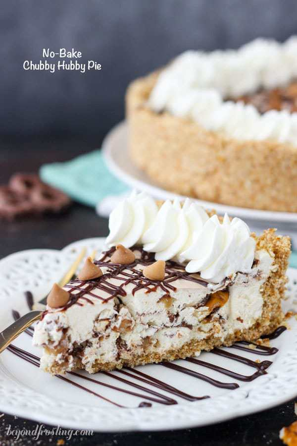 This No-Bake Chubby Hubby Pie is a salty pretzel crust with a vanilla malt filling with chocolate covered pretzels, peanut butter chips and a hot fudge swirl. If you love the Ben and Jerry's Chubby Hubby Ice Cream you'll love this pie! Grab the recipe at beyondfrosting.com
