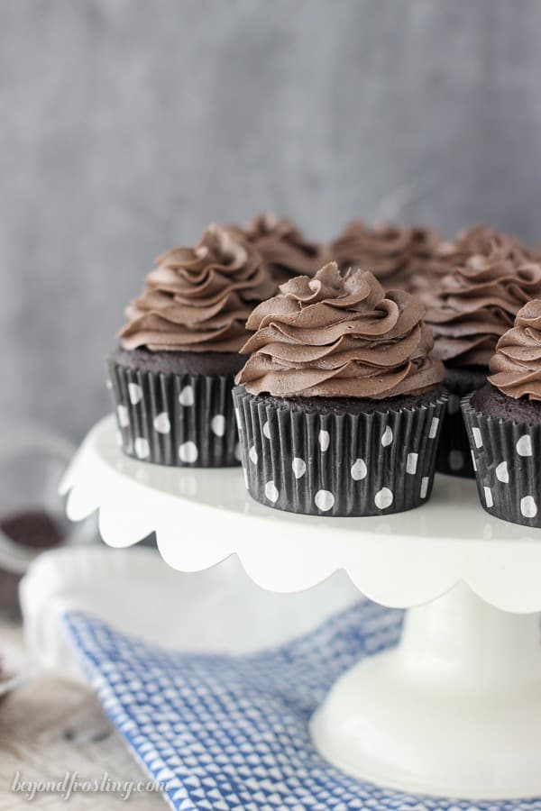 The chocolatey Kahlua cupcakes are so easy! The whipped chocolate frosting is infused with some espresso and Kahlua. Grab the recipe at beyondfrosting.com