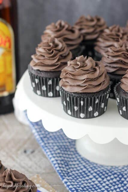 These cake mix Kahlua cupcakes are extra chocolatey, loaded with Kahlua and topped with an espresso infused with frosting.