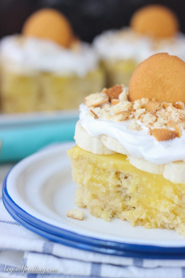 If you're craving banana pudding, look no further. This Easy Banana Pudding Poke Cake starts with a doctored cake make using mashed bananas, brown sugar and buttermilk. Then it's filled with a quick vanilla pudding and topped with bananas, whipped cream and Nilla wafers.