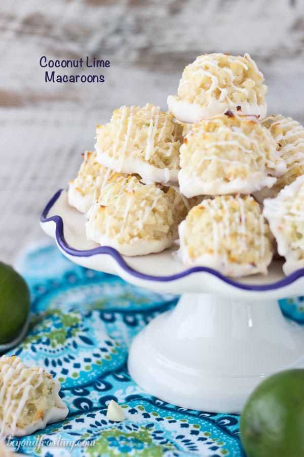 Quick and easy white chocolate coated Coconut Lime Macaroons. Just 7 simple ingredients, these come together in less than 10 minutes. The fresh lime zest is the perfect compliment to this recipe.