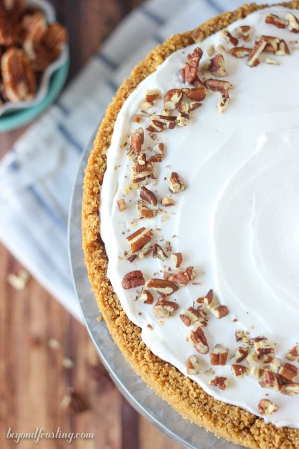 This No-Bake Bourbon Butterscotch Pudding Pie is a graham cracker crust, with a homemade butterscotch pudding spiked with bourbon and topped with a bourbon whipped cream.