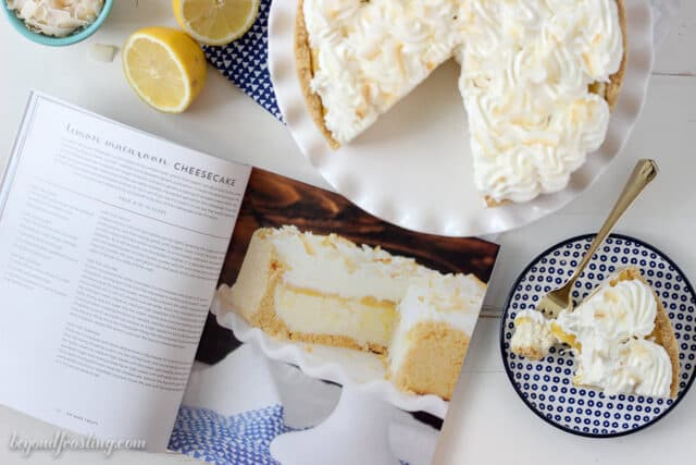 This No-Bake Lemon Macaroon Cheesecake is layered of golden Oreos, coconut cheesecake, lemon curd and whipped cream. The combination of the coconut and lemon is undeniable! All of this is done without turning on the oven! Recipe from the No-Bake Treats Cookbook.