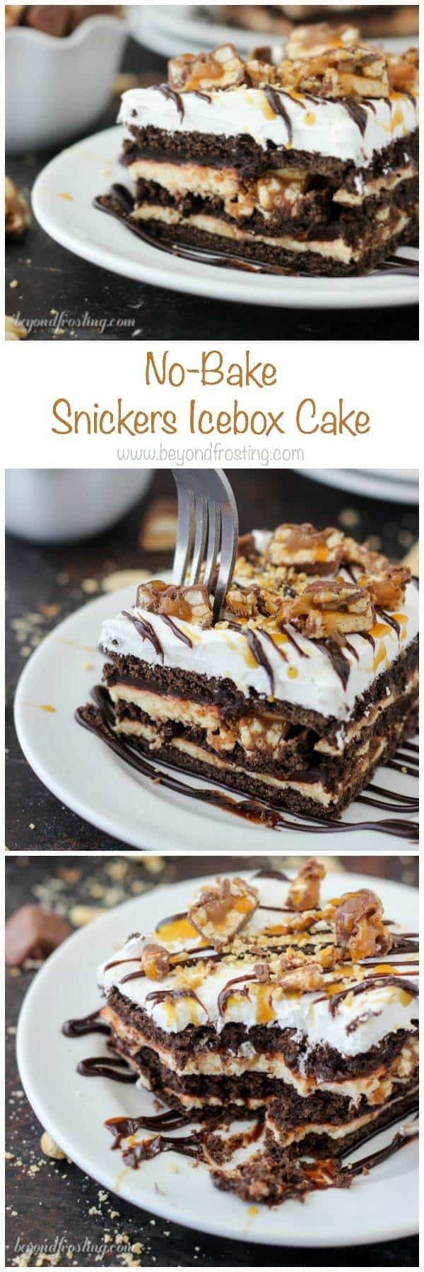 Snicker fans rejoice. This No-Bake Snickers Icebox Cake is the perfect way to cool down this summer. This dessert has layers of chocolate graham crackers, caramel cream cheese, chocolate pudding, Snickers bars and salty peanuts!