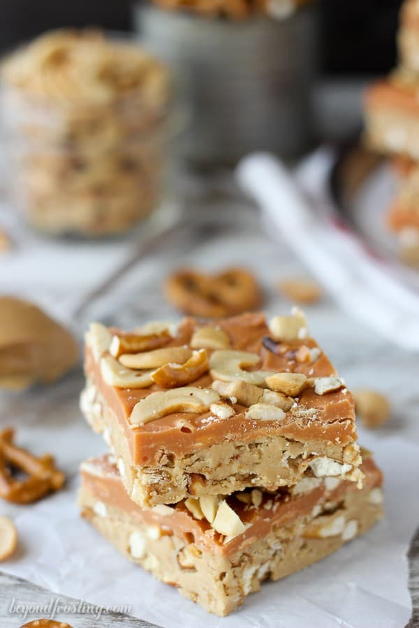 Salty meets sweet in these No-Bake Butterscotch Bars. Layers of peanut butter, pretzels, butterscotch ganache and salty cashews. These bars are a great snack!