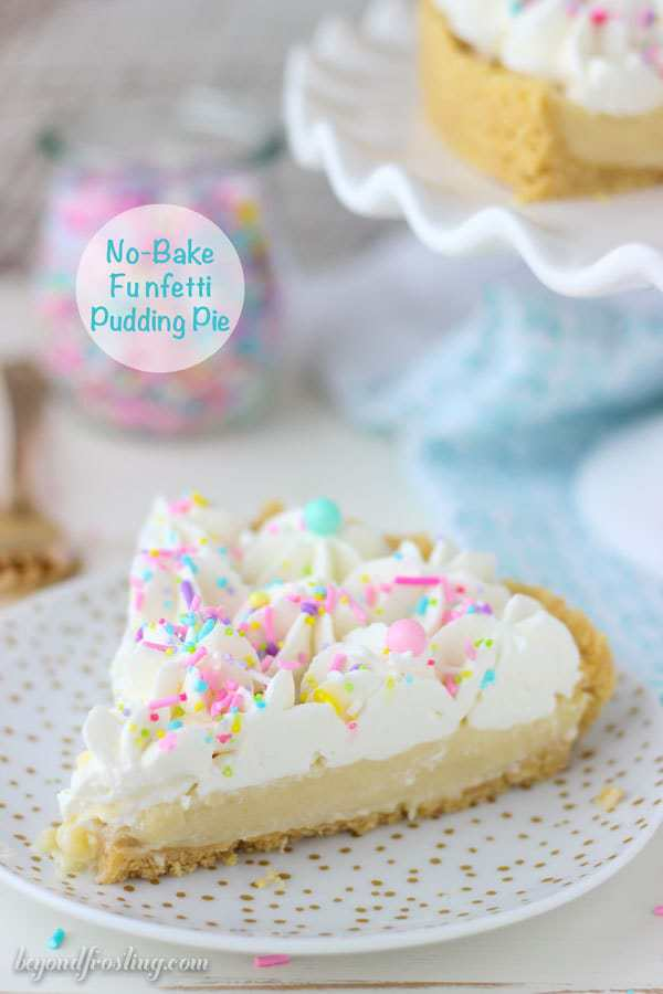 This homemade Funfetti Pudding Pie is a cake batter lover's dream. The from-scratch Funfetti pudding is topped with a cake batter whipped cream. This pie is insanely delicious.