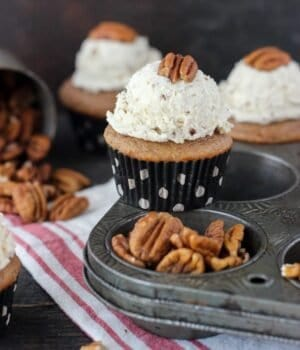 These Maple Pecan Cupcakes are the perfect fall cupcake. If you love butter pecan, and this cupcake is for you. It's a spiced maple pecan cupcakes are topped with a brown butter pecan frosting.