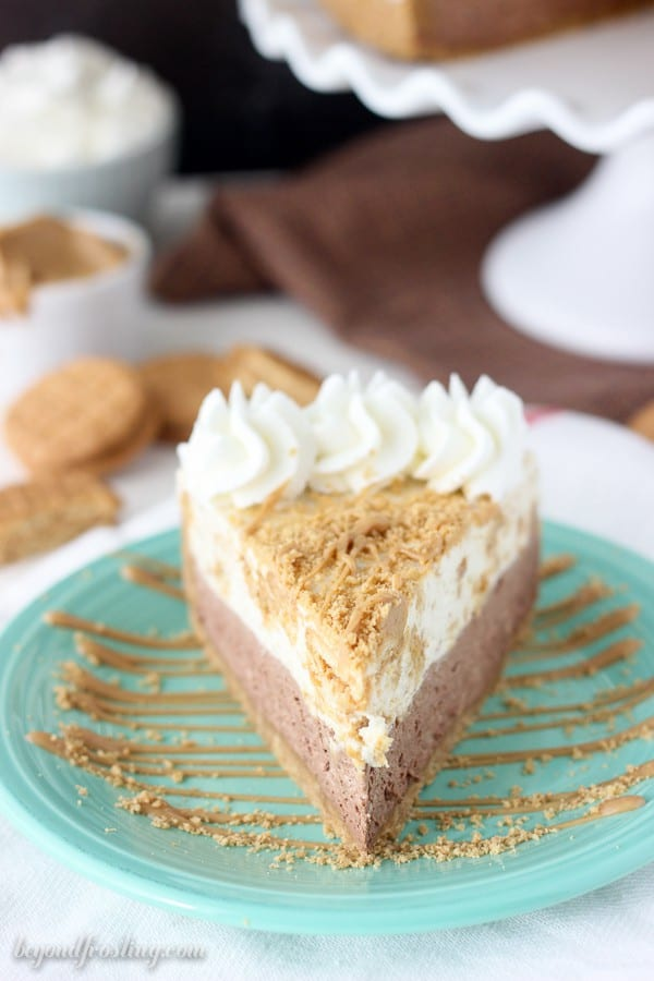 This peanut butter chocolate pie is amazing. Layers of chocolate mousse, and a Nutter Butter Cookies mousse on top all in a peanut butter cookie crust. This no-bake pie will have your taste buds asking for more.