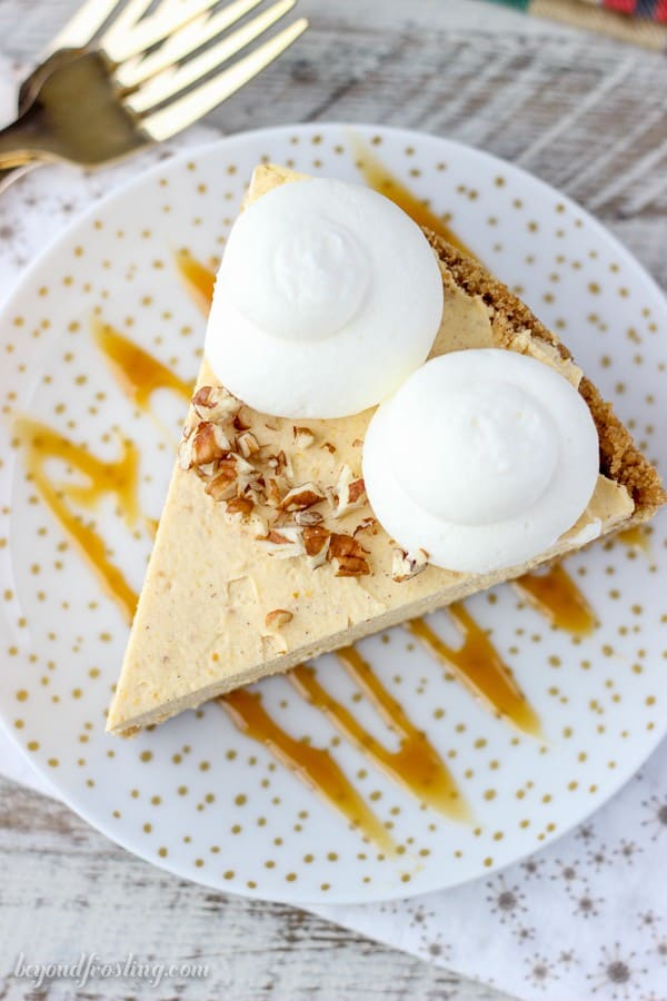 Perfectly smooth and creamy No-Bake Pumpkin Mascarpone Cheesecake with a buttery graham cracker crust.