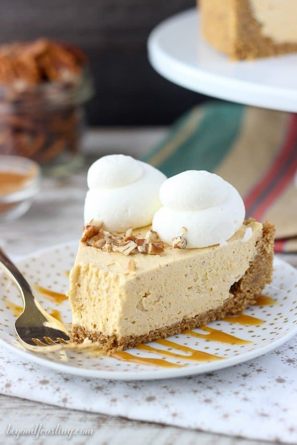 The perfect no-bake dessert for fall. This Pumpkin Mascarpone Cheesecake is like a lightly and airy pumpkin mousse in a buttery graham cracker crust. No-baking has never been so good.