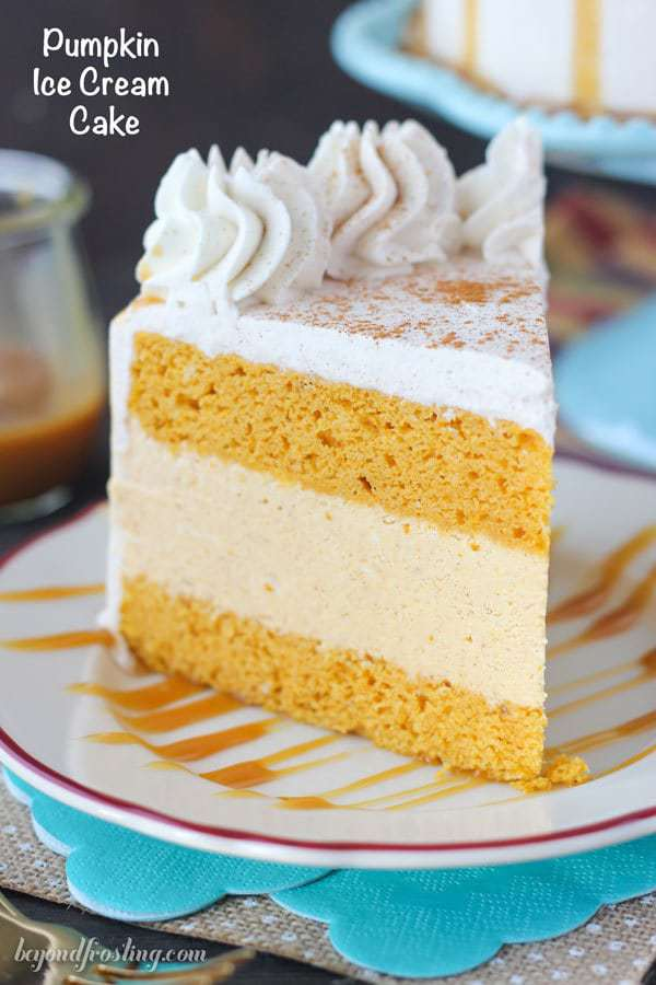 Cake and ice cream never looked so good. This Pumpkin Ice Cream Cake is a double layer pumpkin cake with a no-churn pumpkin ice cream. This cake is topped with a cinnamon maple whipped cream.