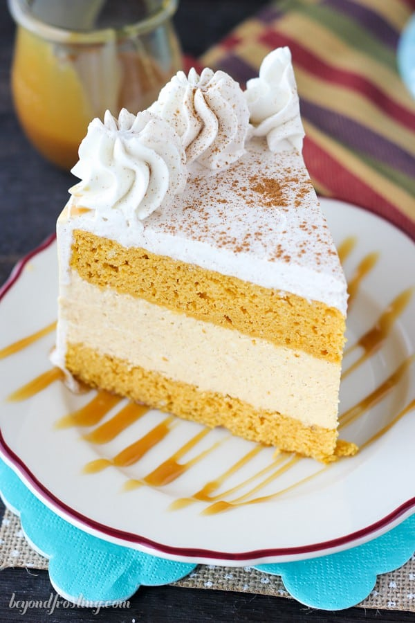 Everyone needs a Pumpkin Ice Cream Cake. A double layer pumpkin cake with a no-churn pumpkin ice cream. This cake is topped with a cinnamon maple whipped cream.