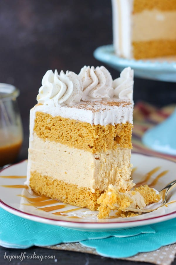 This is one easy ice cream cake! This Pumpkin Ice Cream Cake is a double layer pumpkin cake with a no-churn pumpkin ice cream. This cake is topped with a cinnamon maple whipped cream.