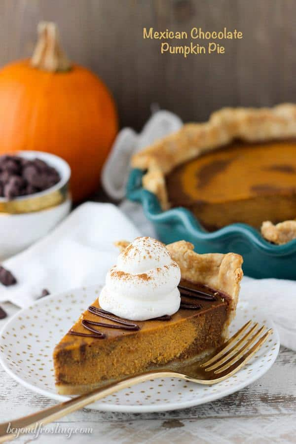 This Mexican Chocolate Pumpkin Pie is a marbled pumpkin chocolate pie with Mexican spice and a spiced chocolate ganache.