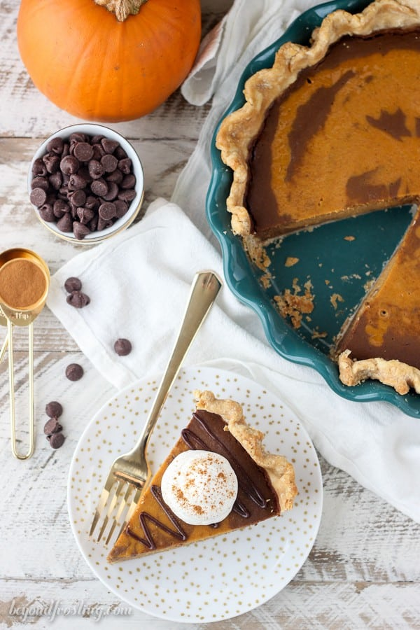If you love pumpkin pie, you have to try this Mexican Chocolate Pumpkin Pie. A classic pumpkin pie marbled with a spiced chocolate. This might be my new favorite way to eat pumpkin pie.