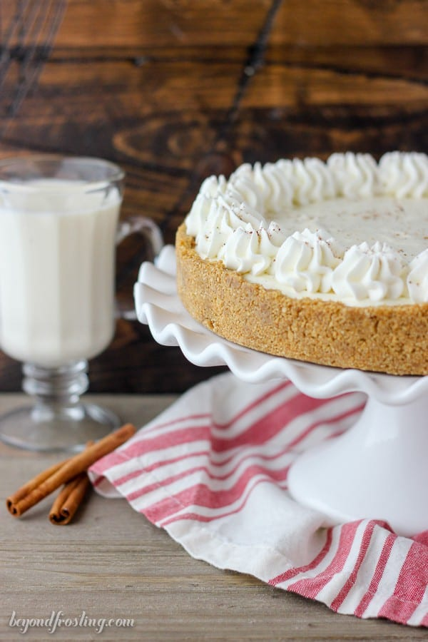 Leave room for dessert because this N0-Bake Eggnog Cream Pie requires seconds. The light and airy eggnog mousse sits in a graham cracker crust. This is made with a homemade eggnog pudding mixed with whipped cream and spiked with a hint on whiskey.