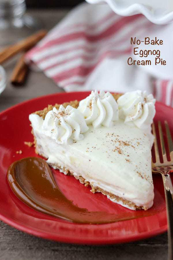 This No-Bake Eggnog Cream Pie is made with a graham cracker crust, and homemade eggnog pudding mixed with whipped cream to create a light and airy mousse like dessert. This pie is a great make-ahead of time dessert for the holidays.