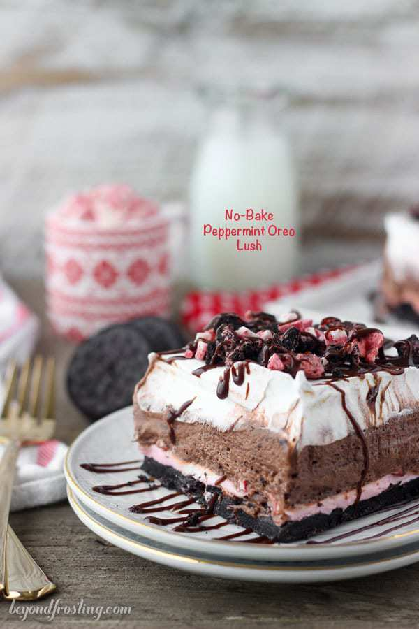 This Peppermint Oreo Lush is the perfect combination of chocolate and peppermint in a no-bake layered desserts. The crust is made with Peppermint Oreo, followed by a no-bake peppermint cheesecake, a chocolate mousse and it's finished with whipped cream.