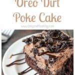 """There's no sharing this Oreo Dirt Cake! The chocolate cake is soaked in hot fudge and covered with a Chocolate Oreo Mousse also known as """"dirt"""". This was my favorite childhood snack!"""